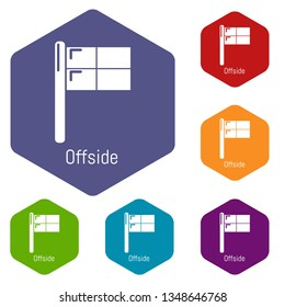 Offside icons vector colorful hexahedron set collection isolated on white