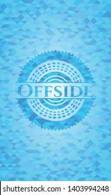 Offside light blue emblem. Mosaic background