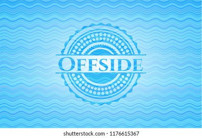 Offside light blue water wave badge background.