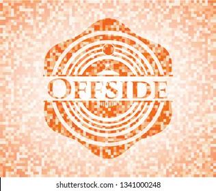 Offside orange tile background illustration. Square geometric mosaic seamless pattern with emblem inside.