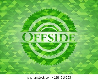 Offside realistic green emblem. Mosaic background