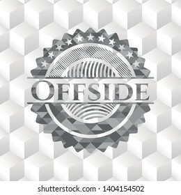 Offside realistic grey emblem with cube white background