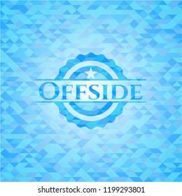 Offside realistic light blue emblem. Mosaic background