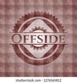 Offside red seamless emblem with geometric pattern background.