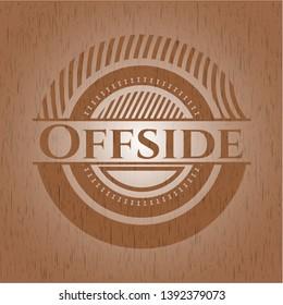 Offside retro wooden emblem. Vector Illustration.
