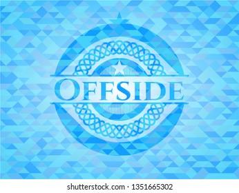Offside sky blue emblem with triangle mosaic background