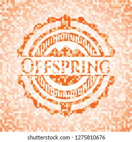 Offspring abstract emblem, orange mosaic background