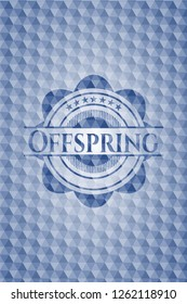 Offspring blue emblem or badge with abstract geometric pattern background.