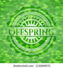 Offspring green emblem with mosaic background