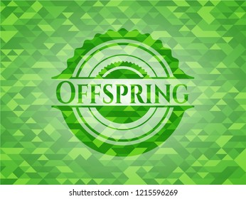 Offspring green emblem with triangle mosaic background
