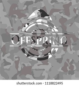 Offspring on grey camouflage texture