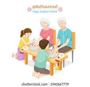 Offspring Pouring Water On Hands Of Revered Elders And Ask For Blessing, Songkran Festival, Tradition Thai New Year, Suk San Wan Songkran (Translate-Happy Songkran Festival)