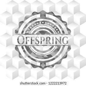 Offspring realistic grey emblem with geometric cube white background