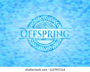Offspring realistic sky blue emblem. Mosaic background