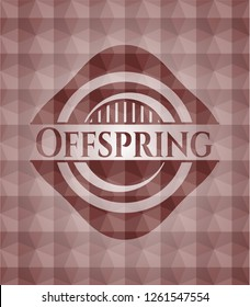 Offspring red emblem with geometric background. Seamless.