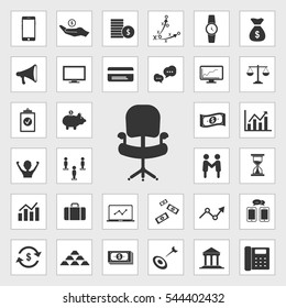 ofice chair icons universal set for web and mobile