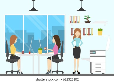 Ofice room with workers. Female employees work and drink coffee.