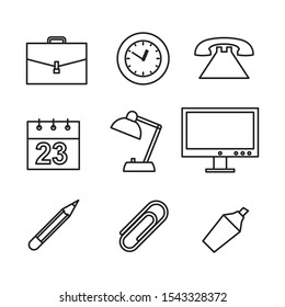 ofis tools set bag o'clock telephone calendar lamp computer pencil clip paper whitening icon in flat style isolated. Vector Symbol illustration.