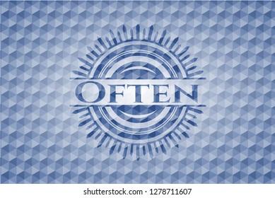 Often blue hexagon badge.