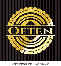 Often golden emblem or badge