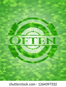 Often green emblem with mosaic background