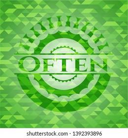 Often green emblem. Mosaic background. Vector Illustration. Detailed.