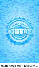 Often light blue emblem with triangle mosaic background