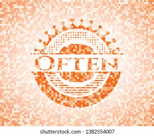 Often orange mosaic emblem. Vector Illustration. Detailed.