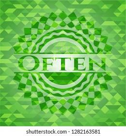 Often realistic green emblem. Mosaic background