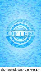 Often realistic light blue mosaic emblem