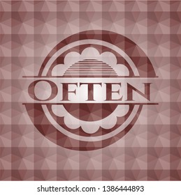 Often red seamless badge with geometric pattern background.