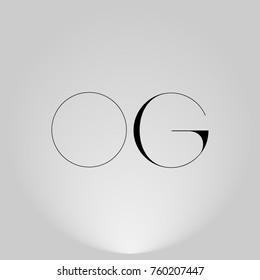 OG Black thin minimalist LOGO Design with Highlight on Gray background.
