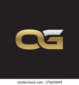 OG company linked letter logo golden silver black background