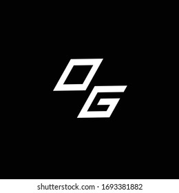 OG logo monogram with up to down style modern design template isolated on black background