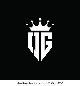 OG logo monogram emblem style with crown shape design template
