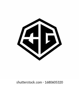 OG monogram logo with hexagon shape and line rounded style design template isolated on white background