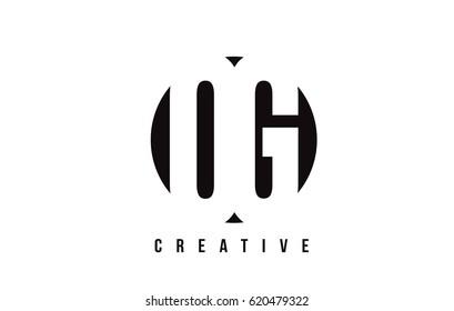 OG O G White Letter Logo Design with Circle Background Vector Illustration Template.