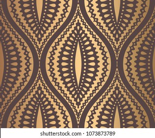 Ogee Pattern. Seamless background with droplets. Golden ornament on brown. Luxury design element or wallpaper, fabric, paper, invitation print. Vintage vector illustration.