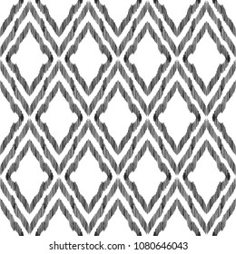 Ogge Ikat seamless pattern. Surface design for print, fabric, wallpaper, gift wrap, texture. Tribal vector illustration. Black and white background. Boho, ethnic style.