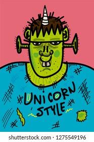 ogre drawing unicorn style,t-shirt design