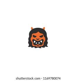 Ogre vector flat emoji illustration