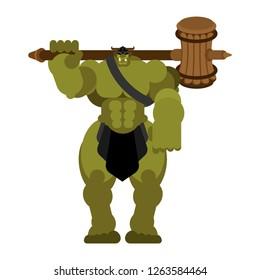 Ogre warrior with weapon. Green goblin Strong. berserk Troll