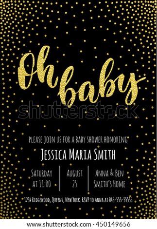 Oh Baby Gold Baby Shower Invitation Stock Vektorgrafik Lizenzfrei