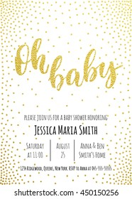 Oh Baby. Baby Shower invitation card template. Classic golden calligraphy vector lettering. White background with gold glittering polka dot decoration.