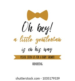 Oh boy cute baby shower with gold stars bow tie butterfly. Birthdauy invitation. Vector illustration. Little gentlemen Black and golden design for cards, banners, label, background, print, logo