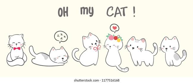 Oh my cat. cute cat vector.