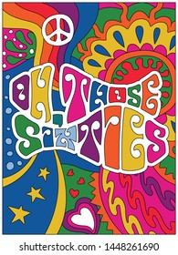 Oh, Those Sixties Poster, Hand Drawn Psychedelic Art Hippie Style from the 1960s