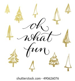 oh what fun christmas and new year greeting card with handwritten calligraphy