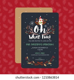 Oh What Fun Christmas Party Invitation Card Template. Vector Illustration