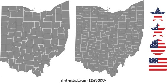 Ohio county map vector outline in gray background. Ohio state of USA map with counties names labeled and United States flag icon vector illustration designs